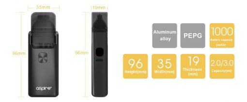 aspire breeze 2 dimensions