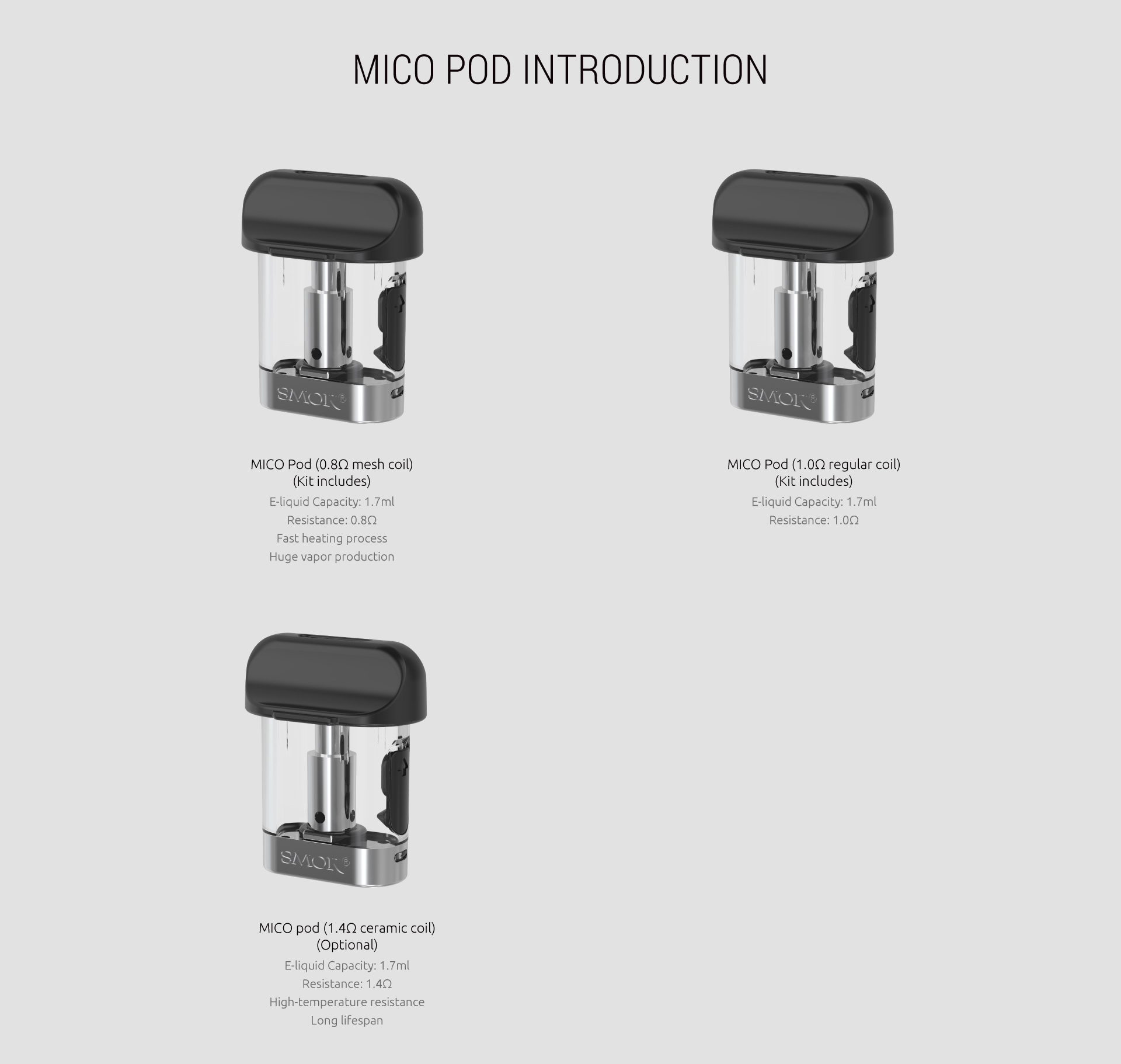 SMOK MICO | Replacement Pods | 1.0 - 0.8 - 1.4 Options